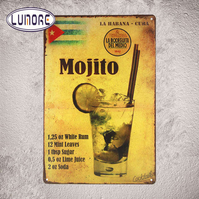 Metal poster Cocktail Mojito Tin Sign Vintage Metal Plaque Poster ...