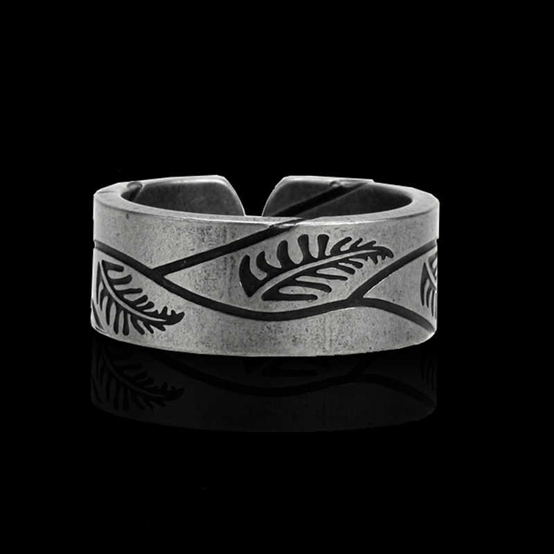Mcllroy Ring men/for women/titanium/ stainless steel Engraved leaf Of Life open cuff rings male jewelry  Valentine's day anillos