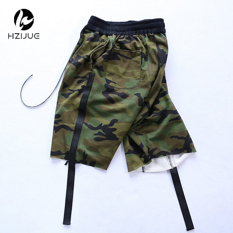HZIJUE 2017 Camouflage Ribbon Drop Out Men Shorts Hip Hop Brand Clothing Justin Bieber Streetwear Military