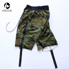 Hzijue 2017 камуфляж ленты выпадают Для мужчин Шорты для женщин хип-хоп брендовая одежда Джастин Бибер уличная Военное Дело Jogger Short