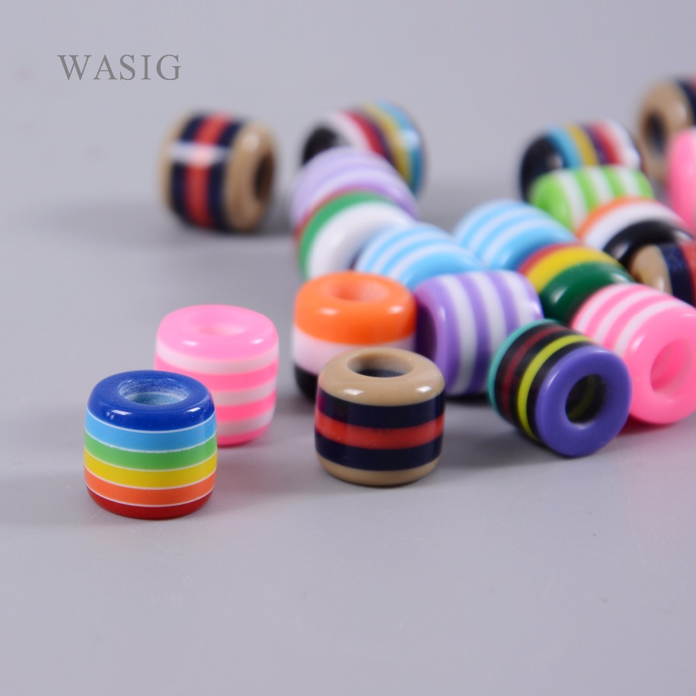 100pcs Colorful Resin Dreadlock Beads Rainbow Stripes Pattern Hair Braid Dread Cuff Clip 6mm Hole Tube Braiding Styling Tool Ne