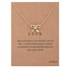 Luck Bow Gold Pendant Necklace Wish SunFlower Feather Choker Jewelry For Women Girls Valentines Day Gift
