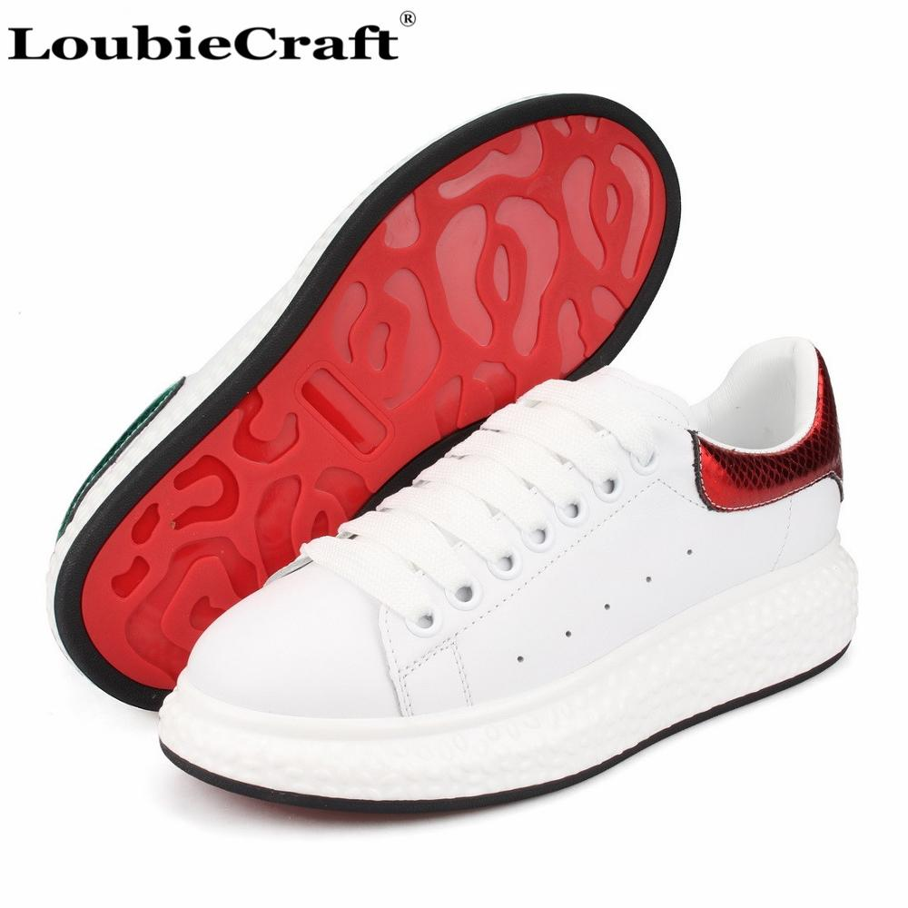 US $99 98 |LoubieCraft Low top Sneakers Platform Women Creepers Shoes  Travel Casual Flats Metallic Red Green Heel White Genuine Leather 42-in  Women's