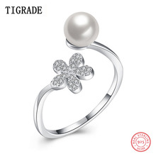 TIGRADE Pearl Resizable Ring 925 Silver Interlaced Rings White Pearl Wedding Ring 925 Sterling Silver Jewelry For Women Gift venidy female natural resizable opal ring fashion red 925 sterling silver jewelry vintage wedding rings for women birthday stone