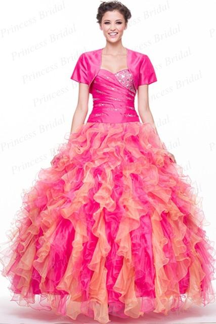 Frete Grátis Puffy Querida Lace Up Voltar Frisada Pavimento Length Organza Ruffled Multi Color Quinceanera Vestido Com Jaqueta QD127
