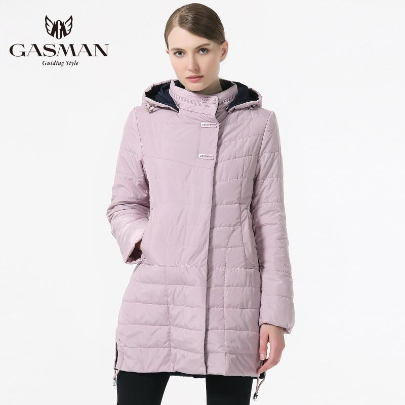 GASMAN 2018 Printemps Automne Manteau et Veste Femmes Moyen Longueur Outwear Manteau Femmes De Mode À Capuchon Mince Coton Veste Marque Femelle