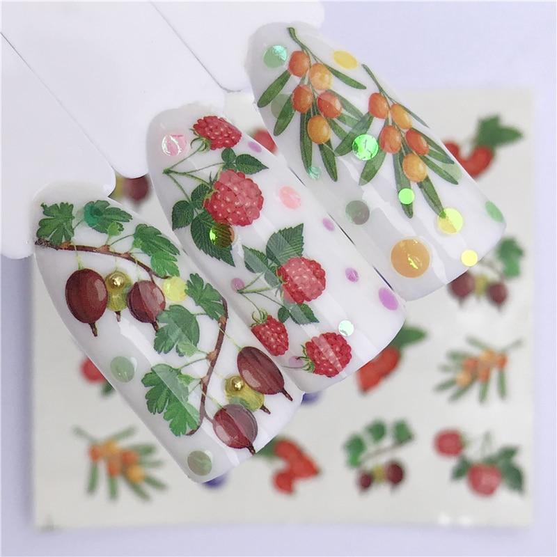 1 лист Летних Фруктов клубники вишни торта мороженого ногтевого дизайна водные переводные наклейки декор слайдер переводка маникюр