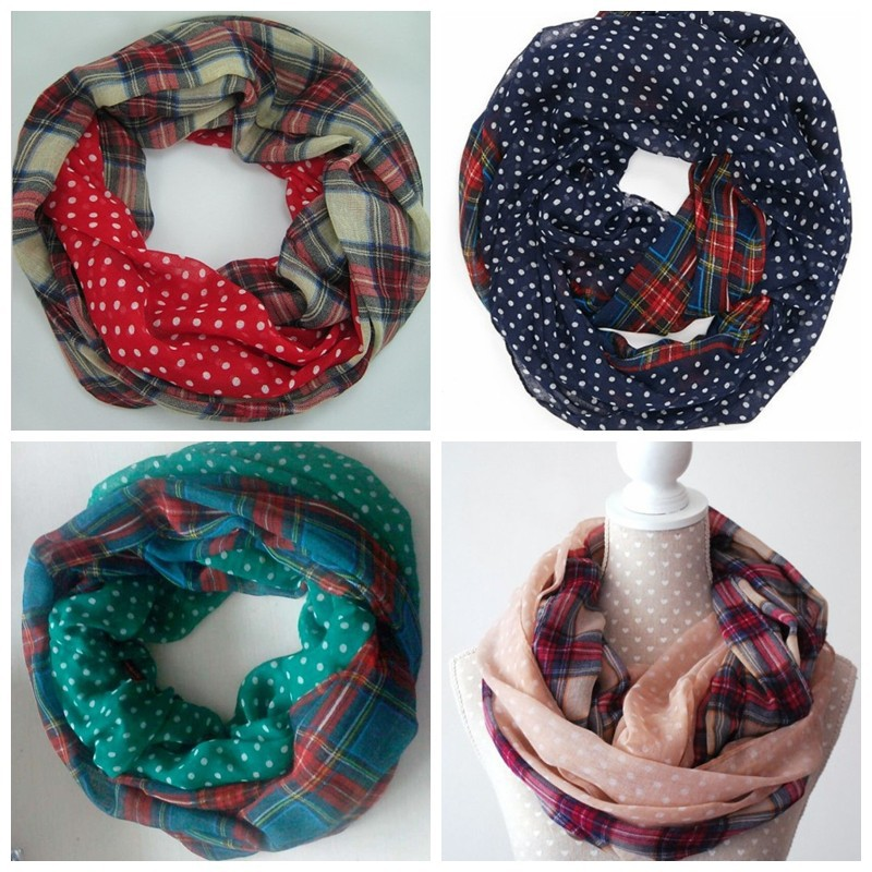Dot Plaid Loop Scarf | Infinity Scarves | Up to 60% Off Now