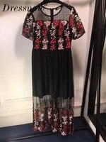 Новые цветочной вышивкой кружевные платья вечерние Для женщин сетки перспектива Винтаж халат Элегантный длинное платье с круглым вырезом