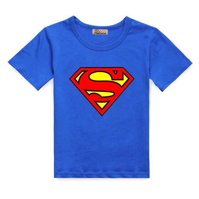 2017 Cotton Toddler Boys Superhero Costume T Shirts Boys Summer Tops Short  Sleeve Cute Lovely Print Children Tees