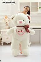 large 130cm white hello teddy bear plush toy soft doll hugging pillow birthday gift w2994