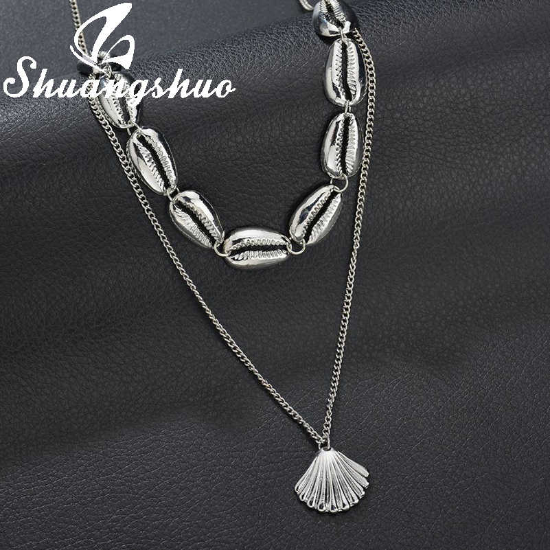 Shuangshuo Silver Shell Pendants Necklaces Chain Necklace For Women Choker Necklace Seashell collier femme Bohemian Jewelry
