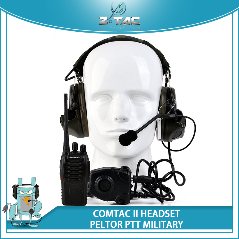 Z-tactical Earphone zComtac II Peltor Noise CancelingHeadset Z041(FG) With Military Standard Version PTT Z112 and Walkie Talkie free shipping imitation pearls chain flatback resin material half pearls chain many styles to choose one roll per lot