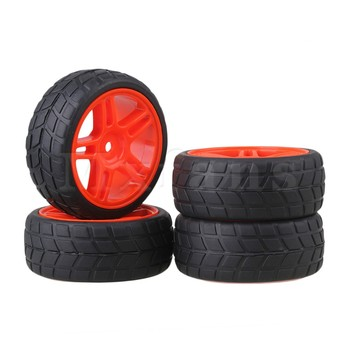 цены Mxfans Durable RC1:10 On-road Racing Car Red Star Shape Wheel Rims & Tires 4pcs