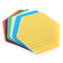 Hexagon Silicone Non-slip Heat Resistant Mat Coaster Cushion table Placemat Pot Holder Coffee Pads Kitchen Accessories supplies fashion waterproof oil heat resistant marble stripe placemat rectangle table mat drink coaster tableware kitchen accessories