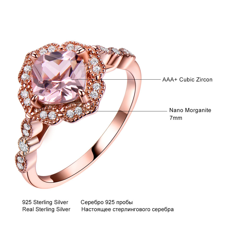 Image 5 - UMCHO 925 Sterling Silver Ring Set Female Morganite Engagement Wedding Band Bridal Vintage Stacking Rings For Women Fine Jewelry-in Rings from Jewelry & Accessories