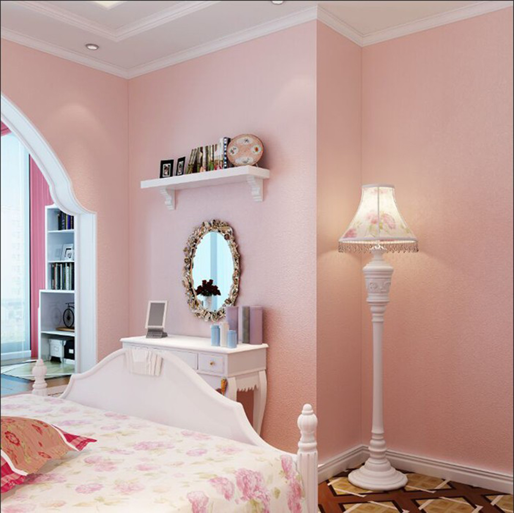 Haokhome Solid Color Non Woven Wallpaper Baby Pink Modern Silk Wallcovering Simple Wall Paper For Livingroom