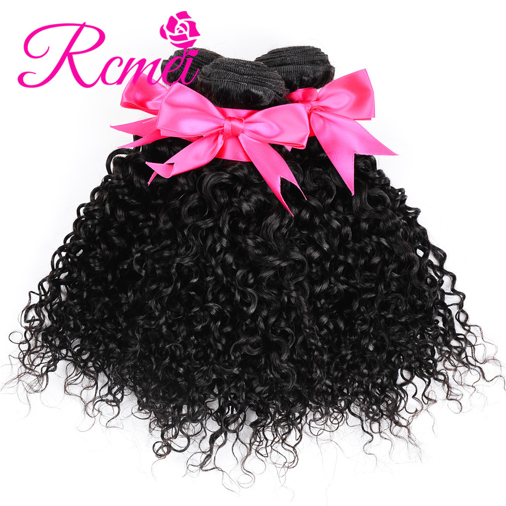 3/4 Bundles Brazilian Kinky Curly Hair Weave 3 Bundles Deal 8-28 Inch Natural Black Bundles 100% Human Hair Weaving Extensions Nonremy Rcmei New Varieties Are Introduced One After Another