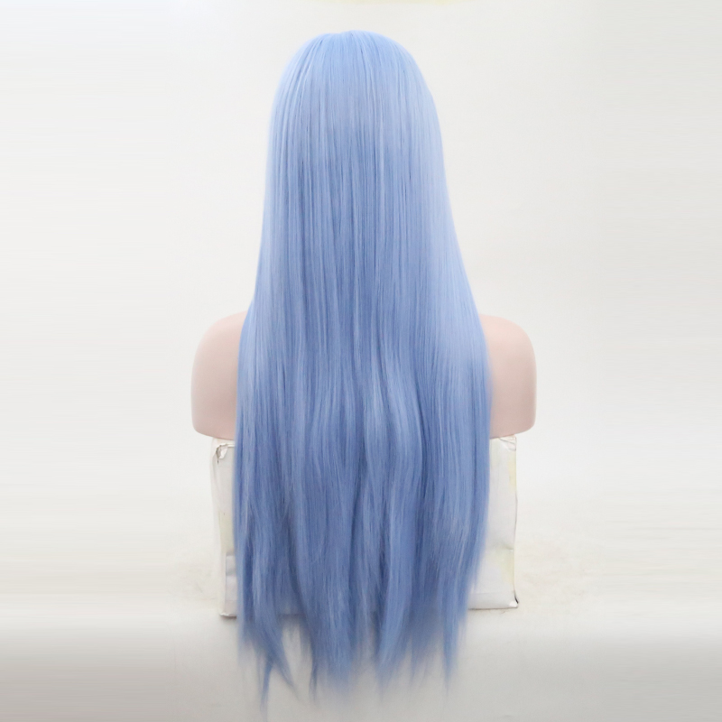 RONGDUOYI Light Blue Synthetic Lace Front Wig Side Part Long Silk Straight Lace Front Wigs For Women High Temperature Wig