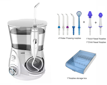 V660G Oral Irrigator, 12 adjustable pressure stalls Hygiene Water Flosser with nozzles, 700ML Capcity Teeth Cleaner + massage