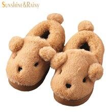 Mignon Animaux Enfants Pantoufles D'hiver Enfants Filles Garçons Chaussures Maison de Dessin Animé Chaud Doux En Peluche Anti-Slip Plancher Intérieur Pantoufles chaussures