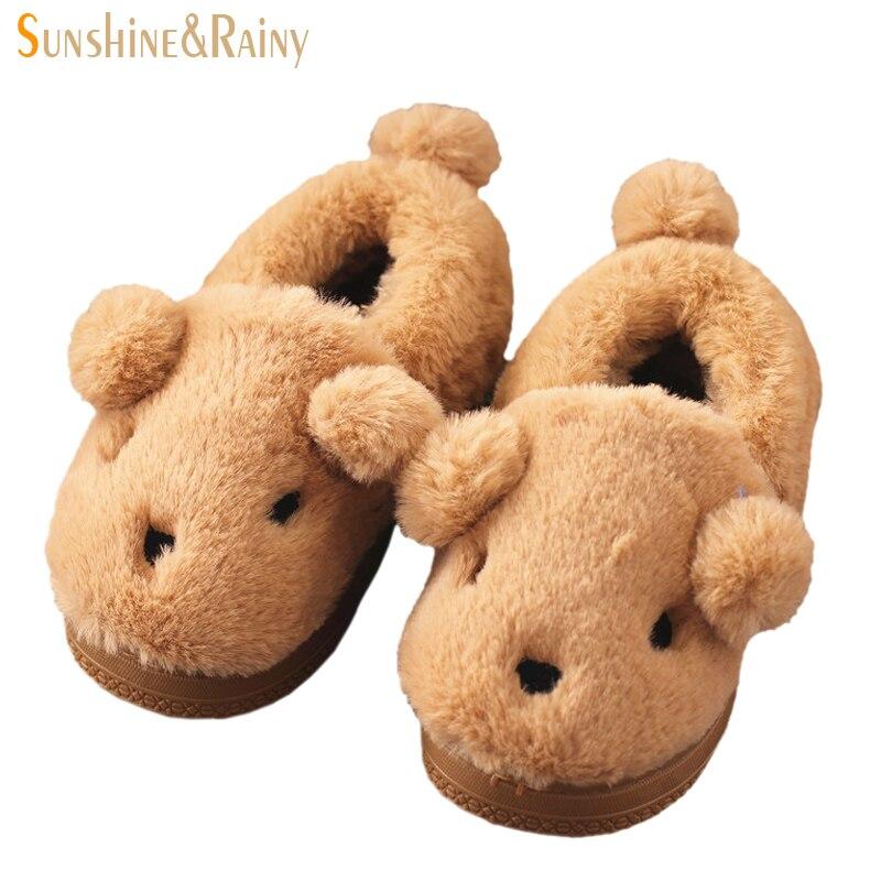 outlet store 4038d 84fe4 US $13.88  Simpatici Animali Bambini Pantofole Invernali Ragazze Dei  Capretti Ragazzi Scarpe Casa Calda Del Fumetto Morbido Peluche Antiscivolo  ...