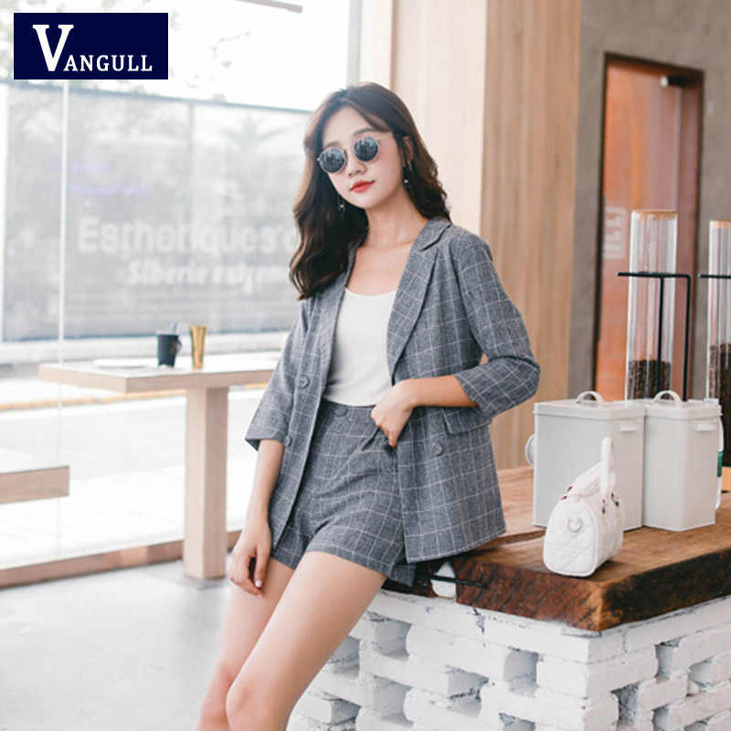 Vangull Women Sets Plaid Short Pant Suits Women Blazer Jacket Hot Shorts 2019 Spring Summer Double Breasted Casual 2 Pieces Set