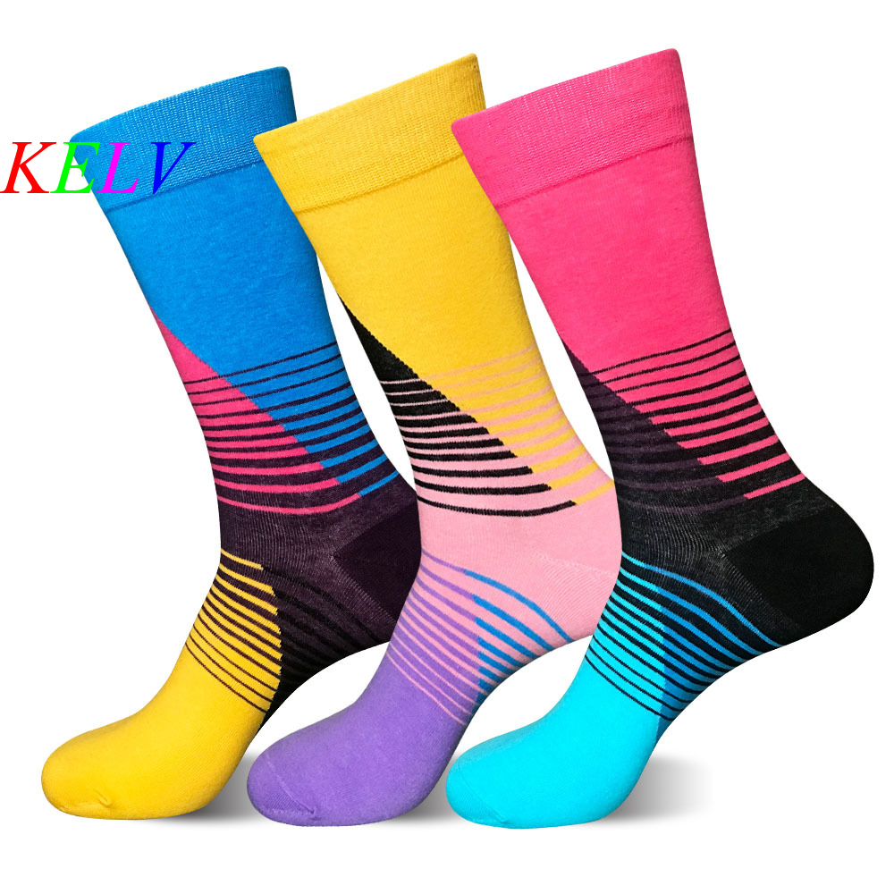 KELV 1 Pair Professional Brand Cycling Sport Socks Feet Breathable Wicking Socks Cycling Socks Striped Tide Middle Tube socks