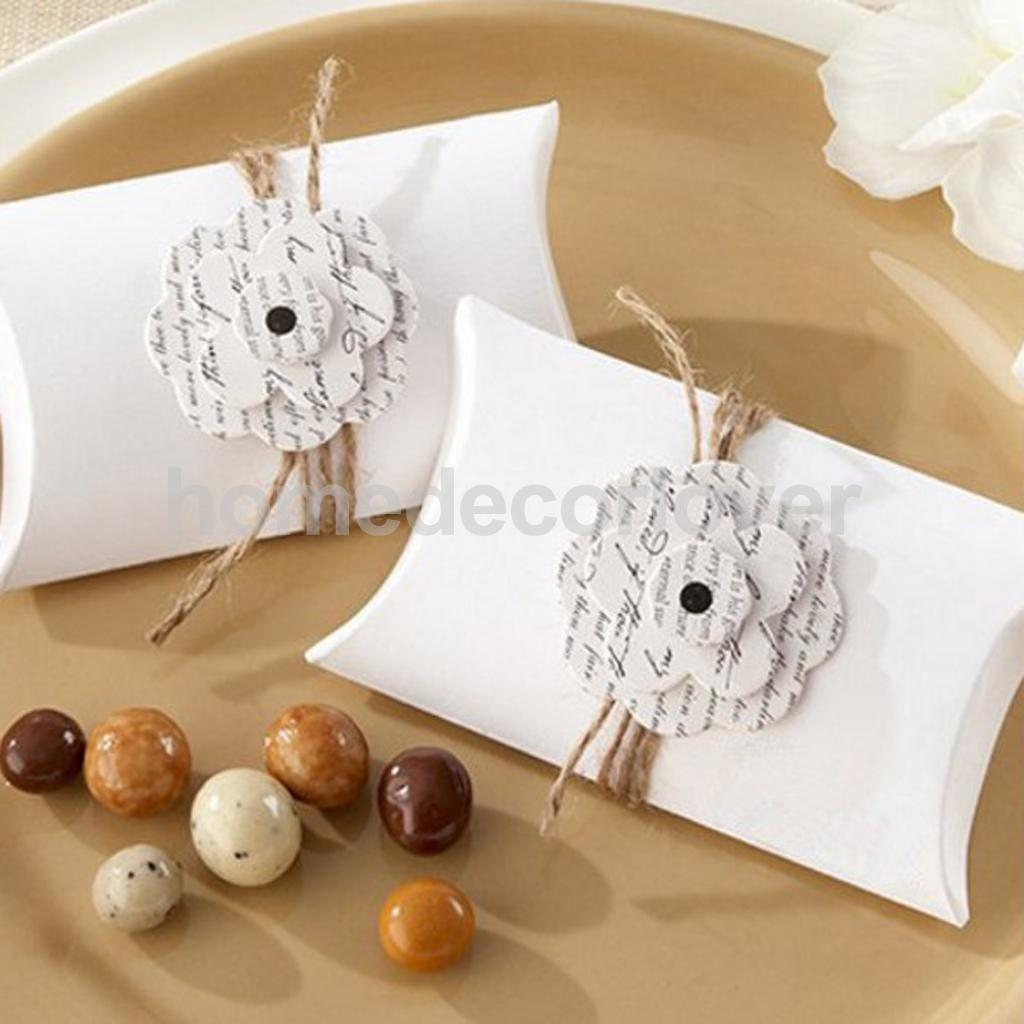 Amazing 50pcs Pillow Candy Boxes With Flower Wedding Party Christening Favour  Boxes(China (Mainland)
