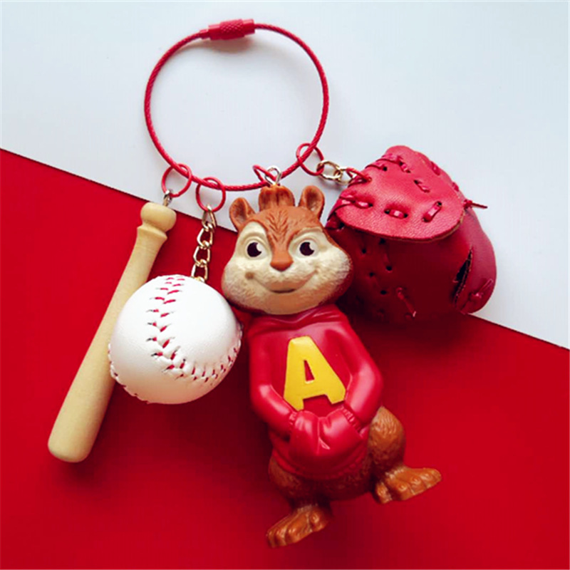 Cute Cartoon Alvin And The Chipmunks Figure Doll Keychain Pendant For Women Girl Bag Backpack Wallet Charms Decoration Keyrings