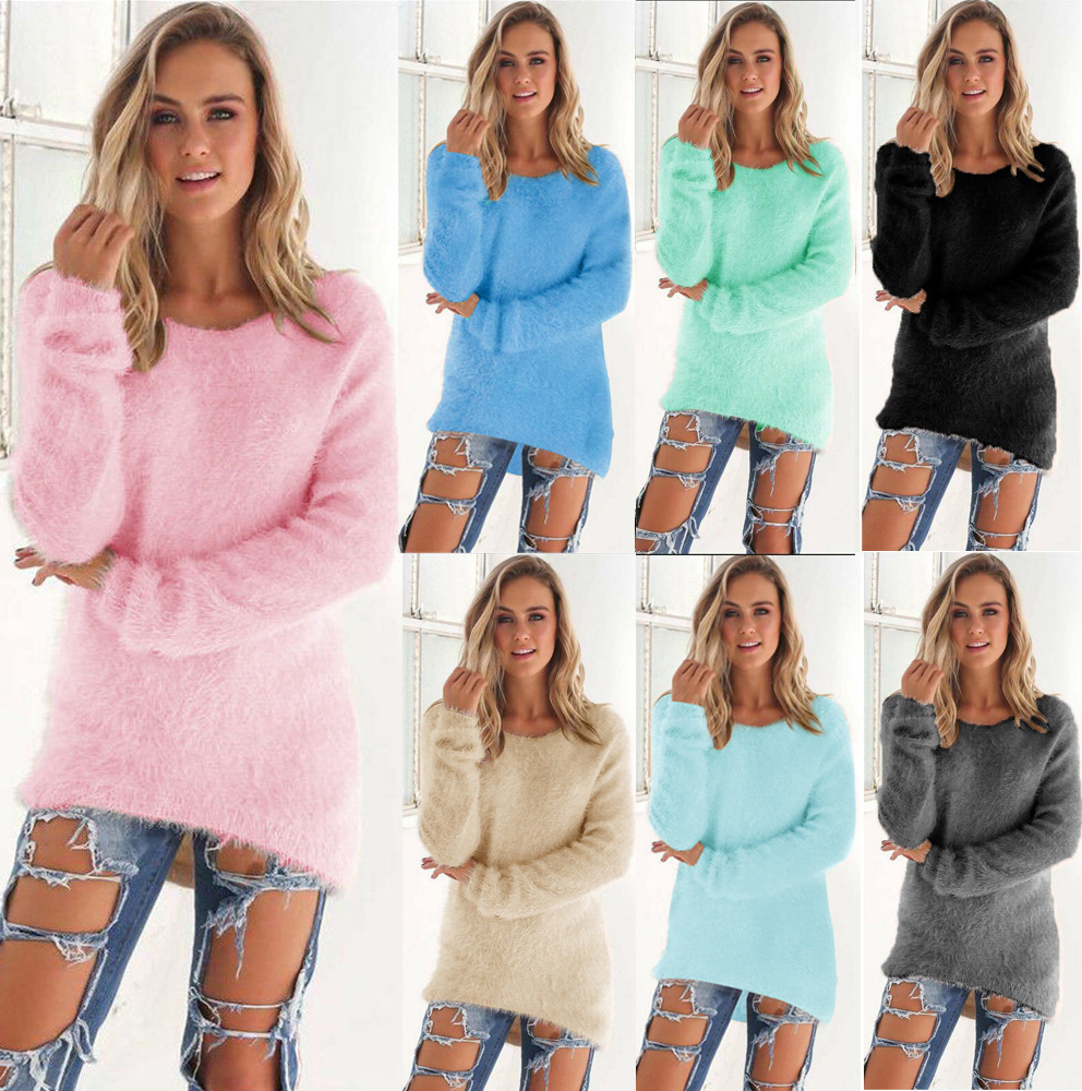 Solid Christmas Sweater Long Sleeve Round neck warm winter clothes women  jumper Pullovers Kardigany Damskie rz  277389d7e54c