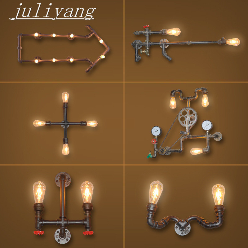 juliyang Industrial style antique wrought iron American retro bar coffee shop living room dining room wall light