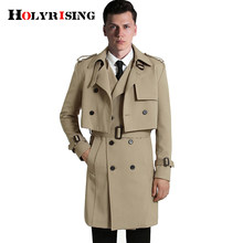 S-6XL 2Pcs/Set Men Trench coat (Long Vest+Coats ) Casual Solid Double Breasted Slim Fit Overcoat Men windbreak coat 18447-5(China)