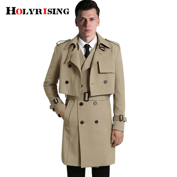 S-6XL 2Pcs/Set Men Trench coat (Long Vest+Coats ) Casual Solid Double Breasted Slim Fit Overcoat Men windbreak coat 18447-5