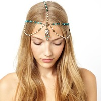 Women Lady Girls Gifts Bohemian Vantage Turquoise Hair Head Piece Chain Headbands Accessories Decorations Jewelry ML012
