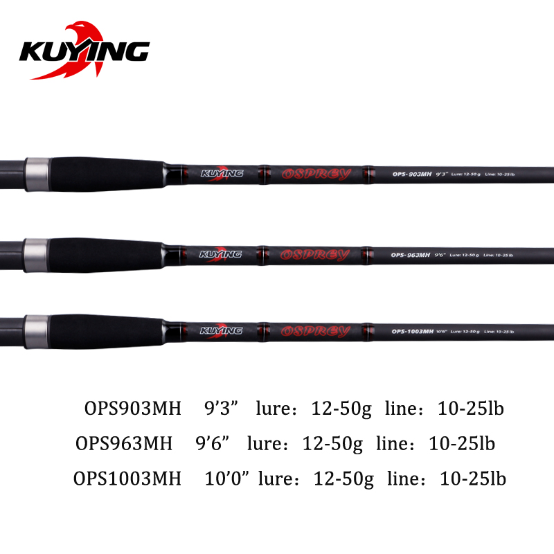 KUYING O-SPREY 2.7m 2.9m 3m Lure MH Hard Carbon Spinning Fishing Rod Pole FUJI Parts Seabass Bass Medium Fast 3 Sections