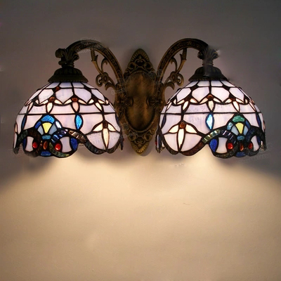 Vintage Tiffany Mediterranean style Baroque Blue glass LED Wall Sconce Indoor Lighting Lamp E27 AC 110/220V Double Wall Light tiffany baroque sunflower stained glass iron mermaid wall lamp indoor bedside lamps wall lights for home ac 110v 220v e27