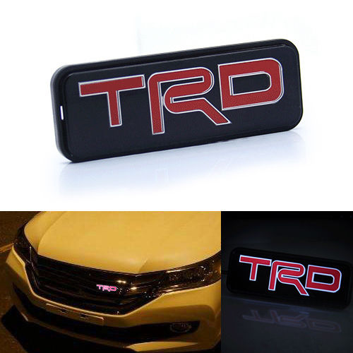 Free shipping TRD LED Red Emblem Car Front Grill Grille Badge For Toyota Camry Corolla Yaris new abs chrome 3d 85mm red growler front grill grille emblem badge roundel fit for jaguar xf