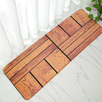 Wood Grain Print Front Door Mat Coral Fleece Floor Carpet Non Slip Bathroom Rug Bath Shower