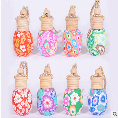 Image 4 - High Quality 12ML/15ML Mix Style Polymer Clay Car Perfume Hanging Bottle with Wooden Cork 100PCS/LOT-in Refillable Bottles from Beauty & Health