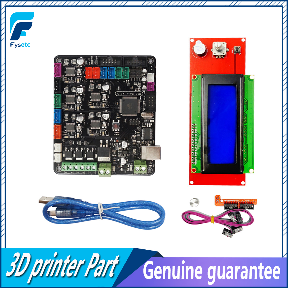 MKS Base V1.5 3D Printer Control Board Mega 2560 R3 Motherboard RepRap Ramps1.4 + 2004 LCD Screen Display Controller ramps 1 4 control board mega 2560 r3 panel 2004 lcd display screen kit for 3d printer