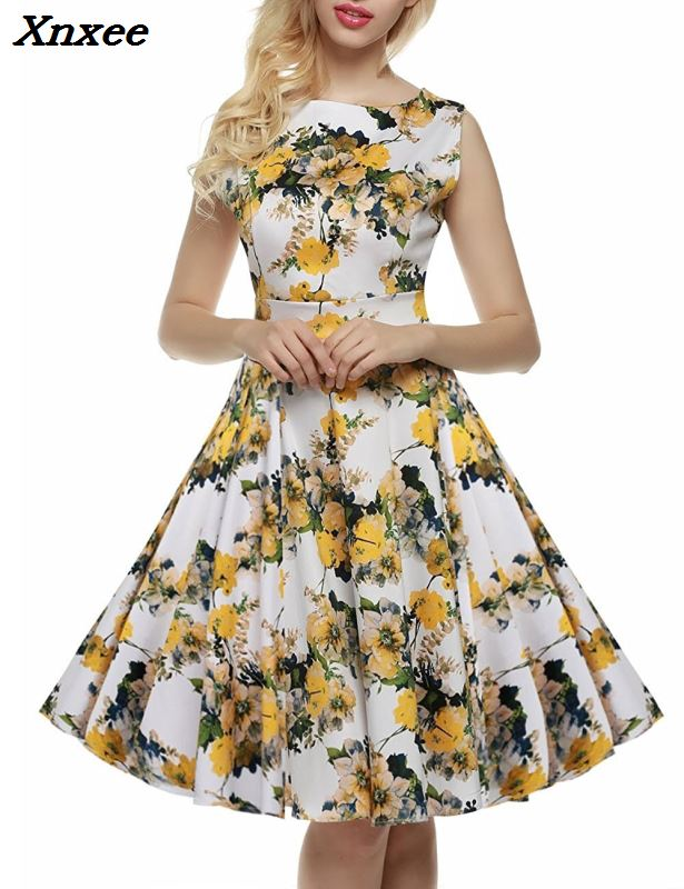 Xnxee Women <font><b>Dress</b></font> Retro <font><b>Vintage</b></font> <font><b>1950s</b></font> <font><b>60s</b></font> Rockabilly Floral Swing Summer <font><b>Dresses</b></font> Elegant Bow-knot Tunic Vestidos Robe Oversize image