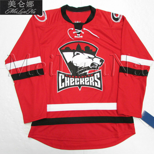 242b2c5572d MeiLunNa Custom AHL Charlotte Checkers Hockey Jerseys Derek Ryan 5 Trevor  Carrick 24 Patrick Brown Sewn On Any Name NO. Size