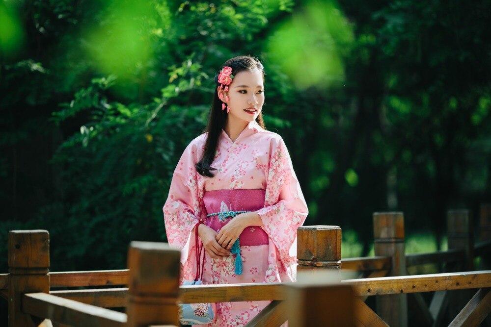Japanese Pink Wrinkle-resistant Breathable Cherry Blossom Kimono Set
