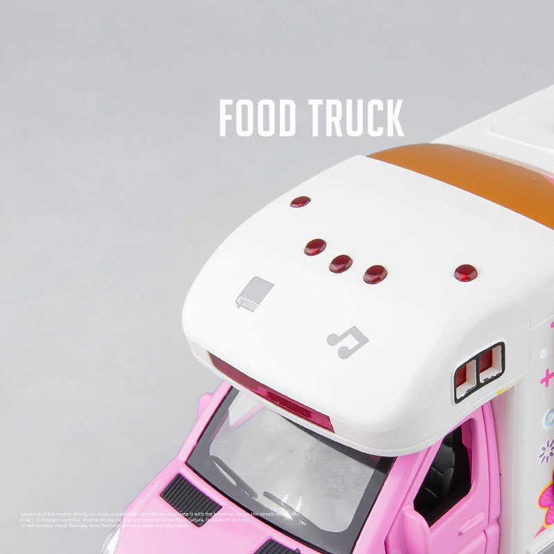 Musik Kreatif dan LED Anak Mobil Mainan Makanan Cepat Saji Minuman Truk Pull-Back Mainan Mobil Model Pintu Terbuka dengan mini Mebel Hadiah