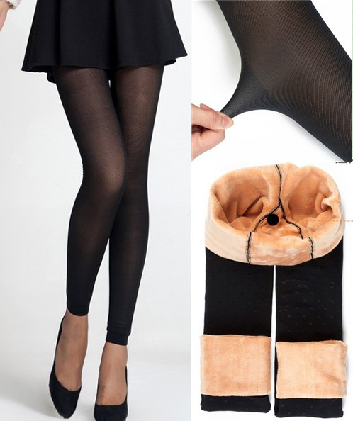 a949cd5889a High Quality Women s Winter Faux Skin Color Sexy Black Leggings Fashion  High Waist Thickening Fleece Warm Pants