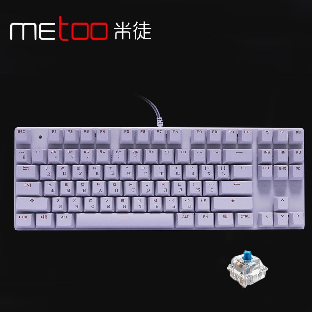 ZERO Russian English Mechanical Keyboard Floating USB wired Blue switch 87 key Gaming keyboard for Teclado