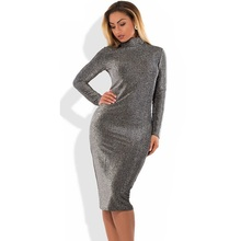 2018 Bodycon Bandage Dress Metallic Knitted Sexy Party Dress Big Size Winter Dress 5XL 6XL Women Dress Plus Size Women Clothing