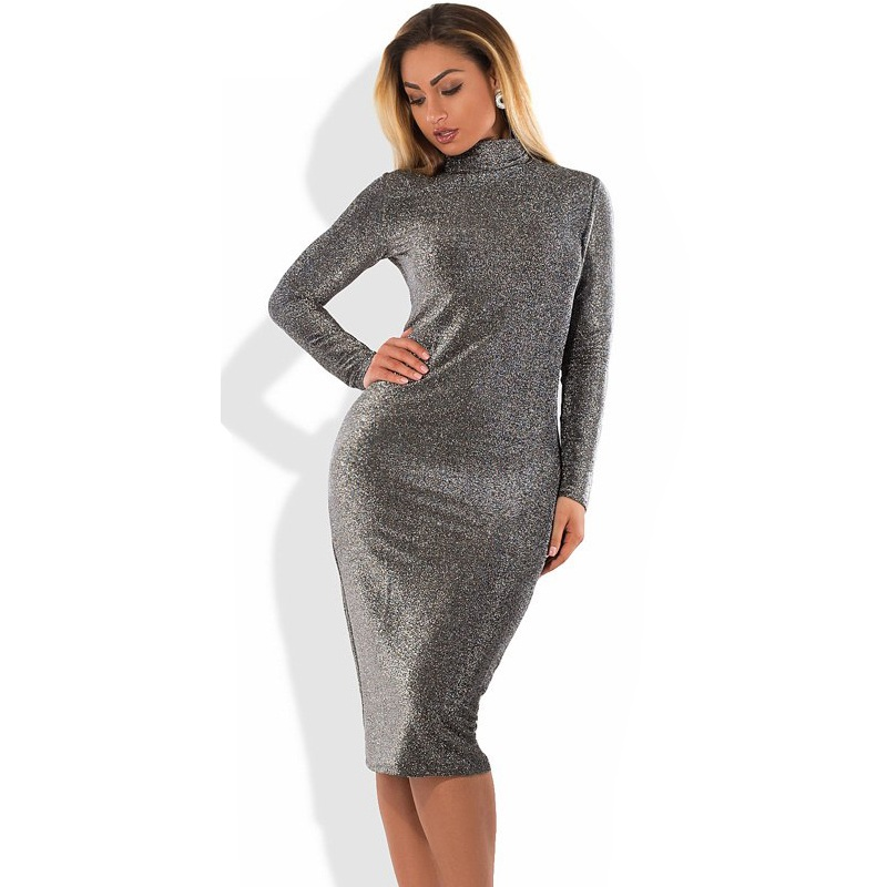 Bodycon Bandage Dress Metallic Knitted Party Dress Christmas Big Size Winter Dress 5XL 6XL Women Dress Plus Size Women Clothing