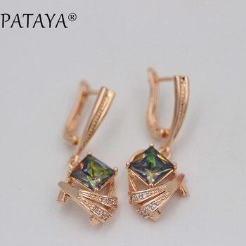 9626cf7ceb1f Pattaya 585 oro rosa pendientes largos AB colorido natural cubic zirconia  pendiente joyería de las mujeres de lujo púrpura cuadrado cuelgan los  pendientes